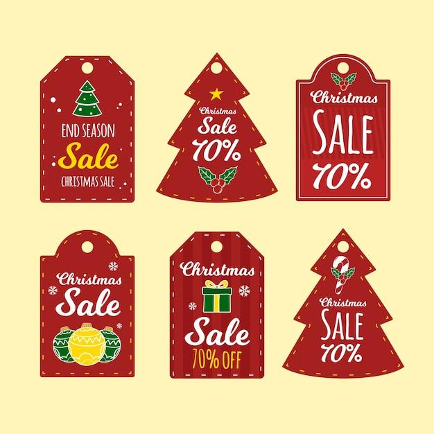 Etiquetas de regalo de navidad set dibujado a mano vector gratuito