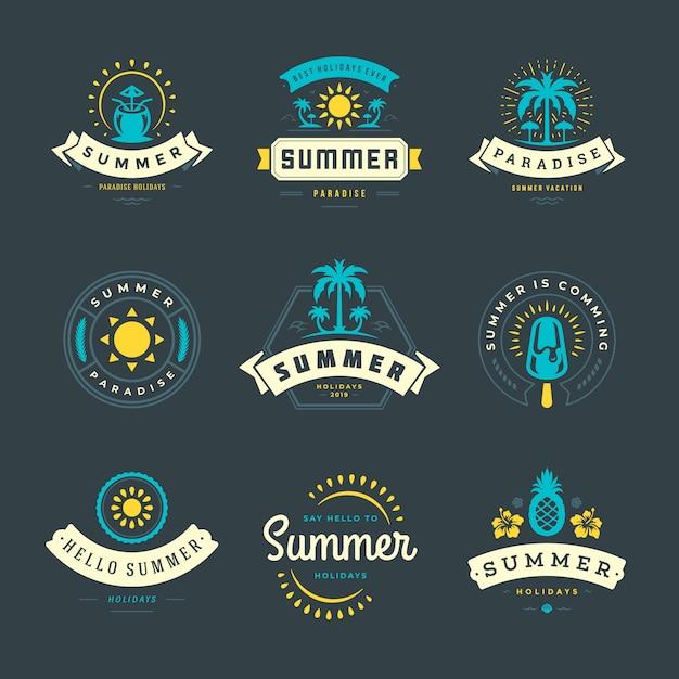 Etiquetas de vacaciones de verano y conjunto de logotipo Vector Premium