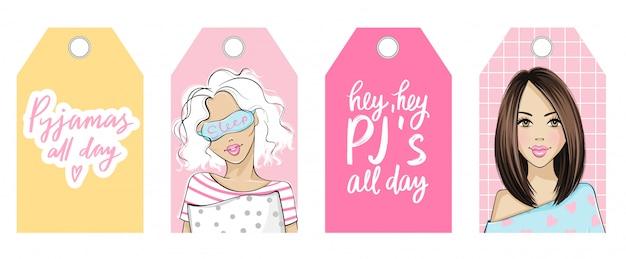 Etiquetas vectoriales de fiesta de pijamas con chicas lindas y citas. womanl joven en pijama y antifaz para dormir. Vector Premium