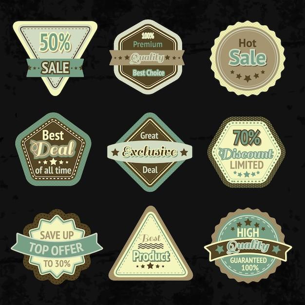 Etiquetas de venta y diseño de distintivos para el mejor precio, alta calidad y trato exclusivo y aislado. vector gratuito