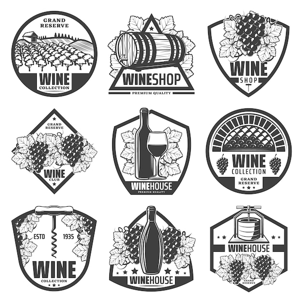 Etiquetas de vino monocromáticas vintage con botellas de vino, barriles de madera de racimos de uva de vino, viñedo sacacorchos aislado vector gratuito