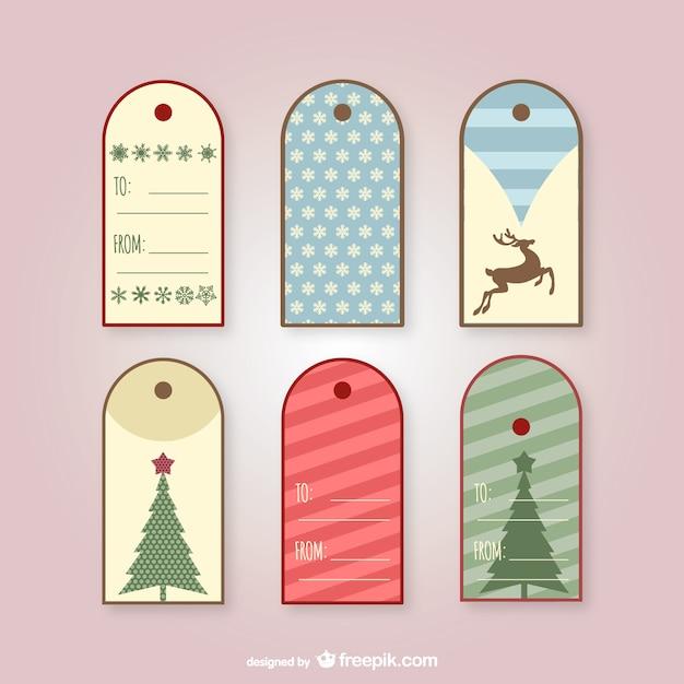 Etiquetas Vintage Para Regalos De Navidad Vector Gratis