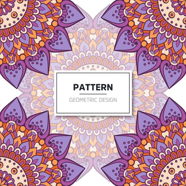 Étnico patrón floral sin fisuras con mandalas vector gratuito