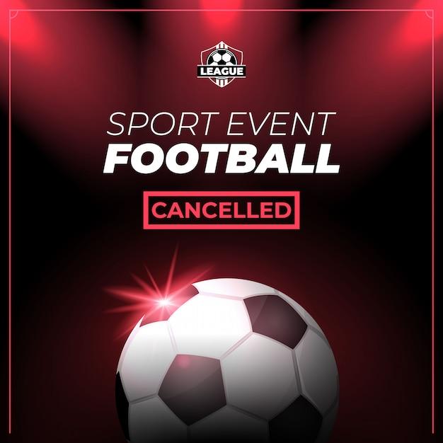 Evento deportivo de fútbol cancelado flyer o banner vector gratuito
