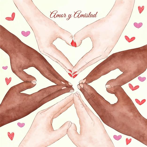 Evento del día de la amistad y el amor. vector gratuito
