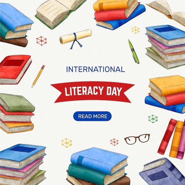 Evento del día internacional de la alfabetización Vector Premium