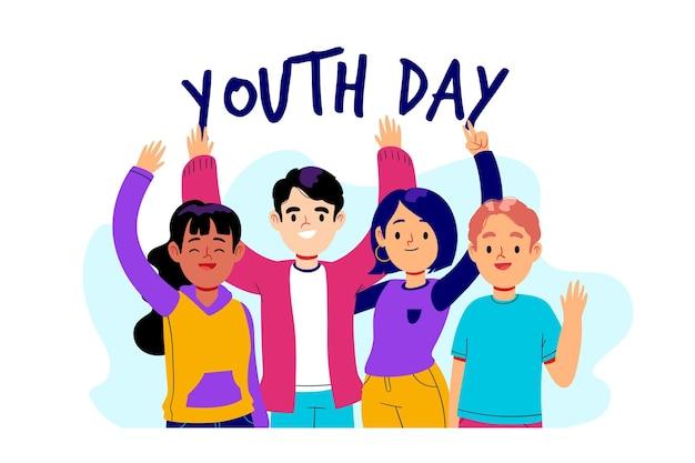 Evento del día de la juventud de diseño dibujado a mano vector gratuito