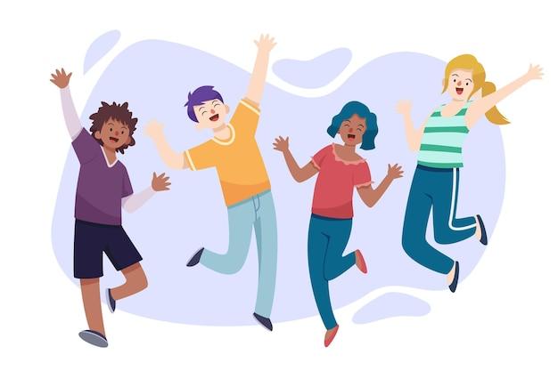 Evento del día de la juventud de diseño plano con personas saltando vector gratuito