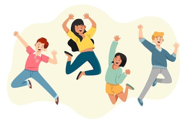 Evento del día de la juventud con personas saltando vector gratuito