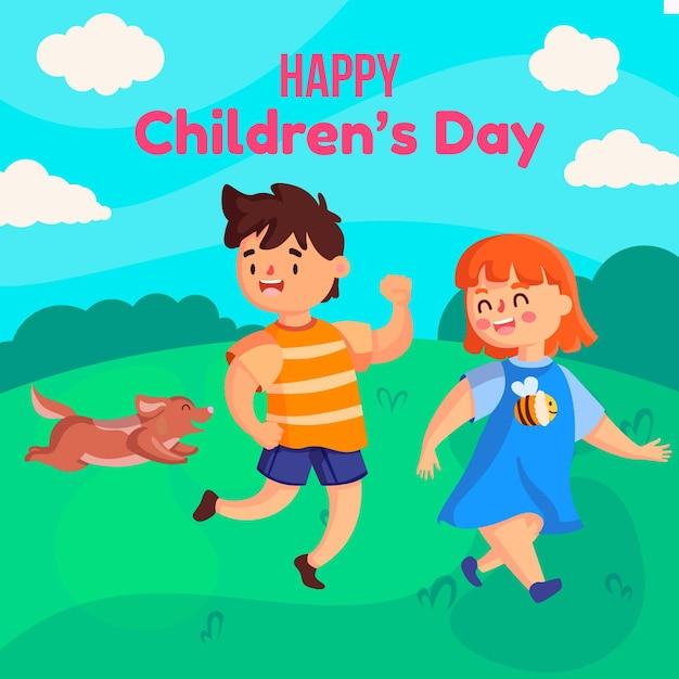Evento del día mundial del niño en diseño plano. vector gratuito