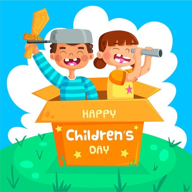Evento del día mundial del niño con niños. vector gratuito