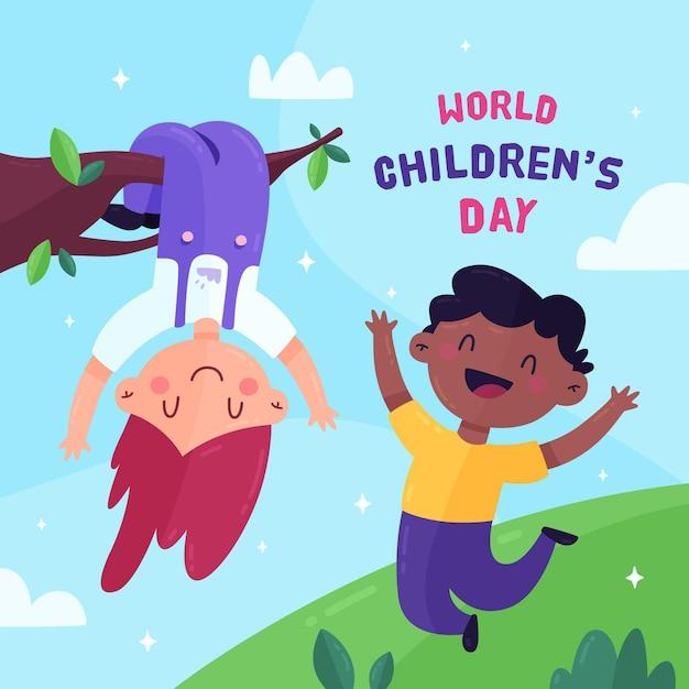 Evento del día del niño de diseño plano. vector gratuito