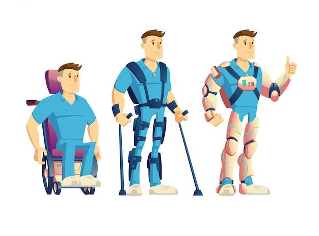 Evolución de los exoesqueletos para dibujos animados de personas con discapacidad. vector gratuito