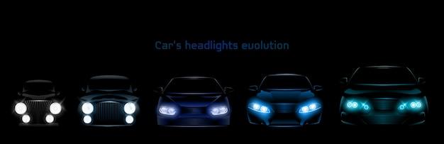 Evolución de los faros de los automóviles, brillante bandera de los faros delanteros vector gratuito