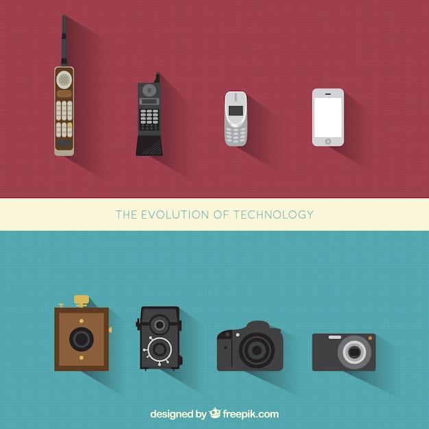Evolución de teléfono y fotos cámaras vector gratuito