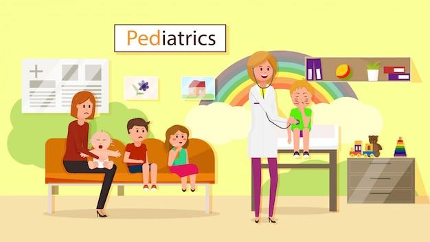 Examen por el pediatra Vector Premium