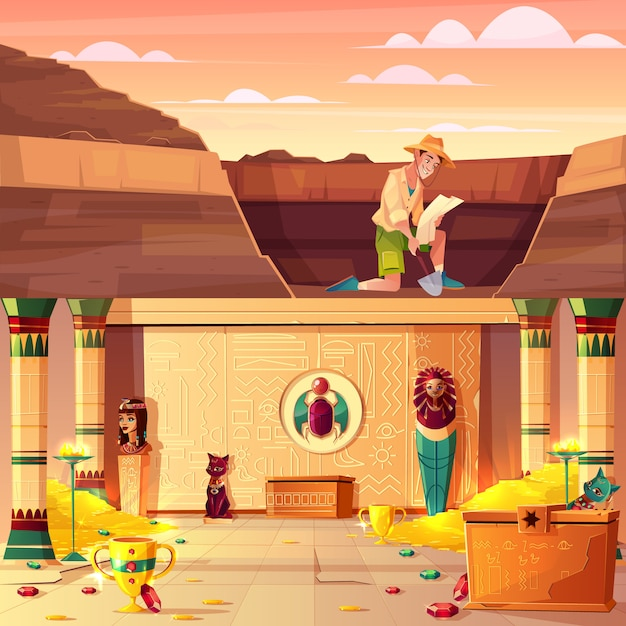 Las excavaciones arqueológicas, el concepto de vector de dibujos animados de la caza del tesoro con el arqueólogo o el jinete de la tumba mirando en el mapa, excavando el suelo en el desierto con una pala, egipto faraón tesoro ilustración subterránea vector gratuito