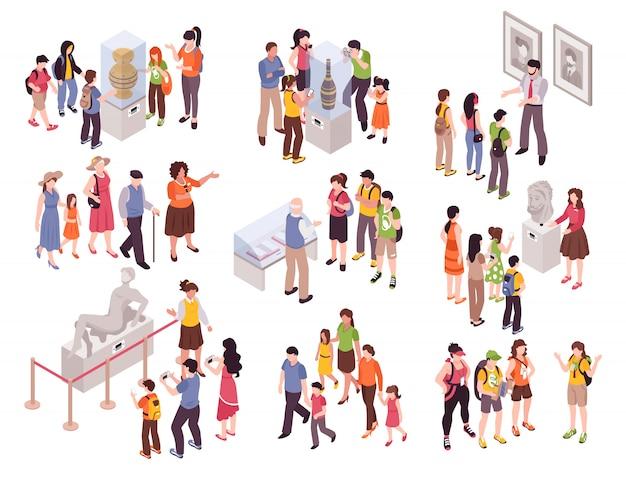 Excursión de guía isométrica con grupos aislados de personajes humanos con piezas de muestra de museo y observadores vector gratuito