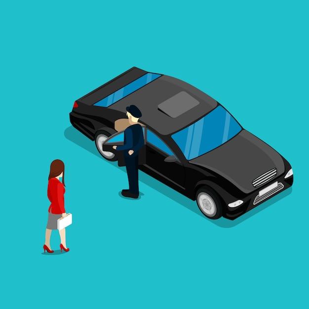 Exitosa mujer de negocios cerca de coches de lujo. gente isométrica ilustración vectorial Vector Premium