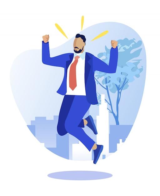 Exitoso empresario triunfando sobre la victoria Vector Premium
