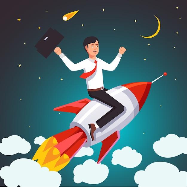 Escribiendo hombre de negocios con un cohete de éxito