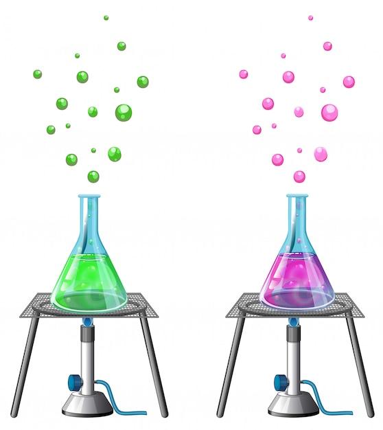Experimento científico con químicos vector gratuito