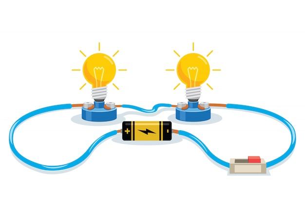 Experimento de circuito eléctrico simple para educación infantil Vector Premium
