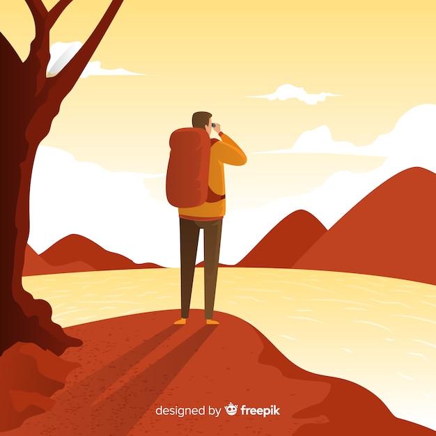 Explorador con mochila vector gratuito