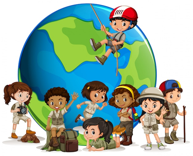 Explorador multicultural con globo. vector gratuito