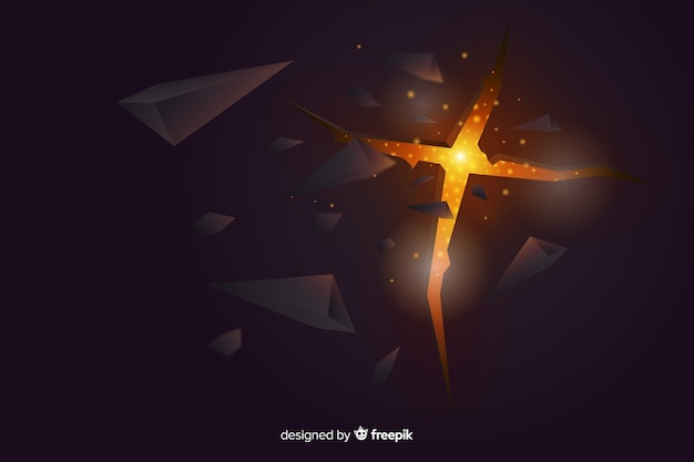 Explosión 3d con fondo de luz vector gratuito
