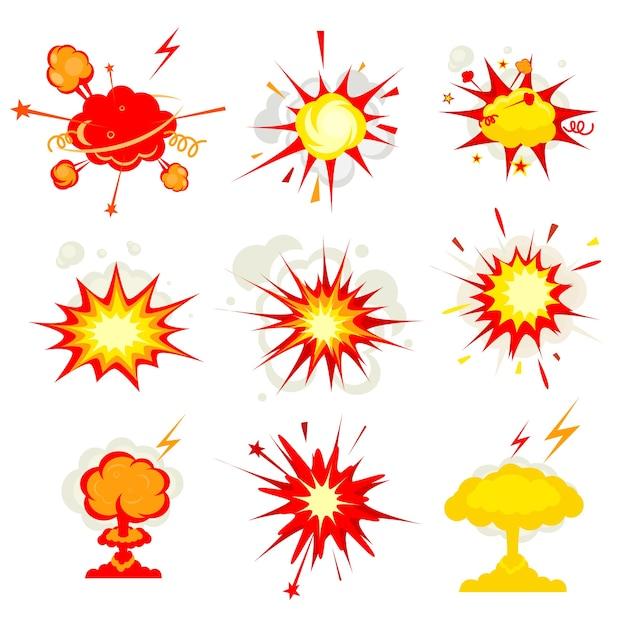 Explosión de cómic, explosión o bomba, explosión, fuego vector gratuito