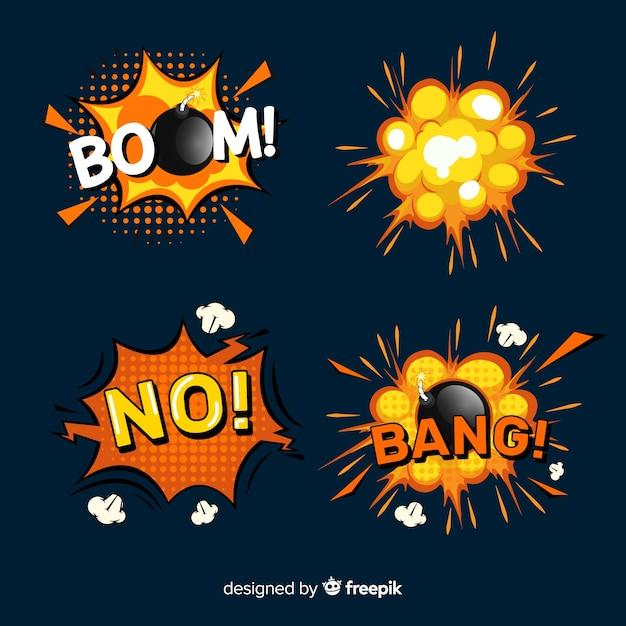 Explosión estilo cartoon, set de explosiones con humo Vector Premium