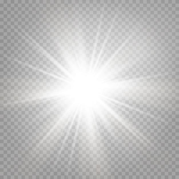 La explosión de una estrella brillante y un resplandor resplandeciente. Vector Premium