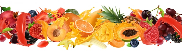Explosión de frutas y bayas. salpicaduras de jugo. frutas tropicales dulces Vector Premium