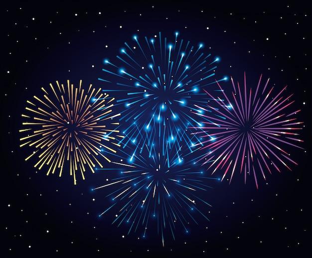 Explosión de fuegos artificiales en el cielo nocturno oscuro, celebración del año nuevo Vector Premium