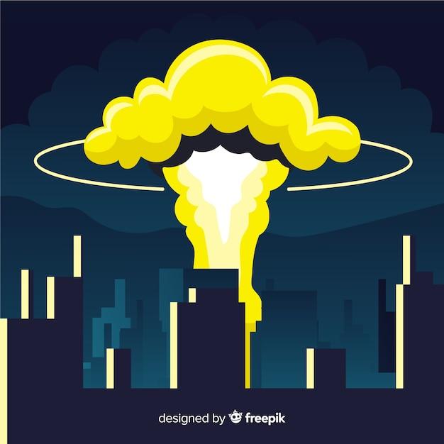 Explosión nuclear en una ciudad estilo dibujos animados vector gratuito