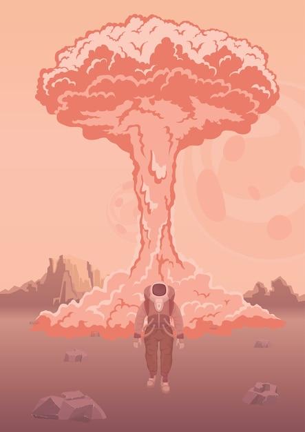Una explosión nuclear en marte u otro planeta. astronauta en traje espacial en el fondo de la explosión. prueba de armas espaciales. ilustración. Vector Premium