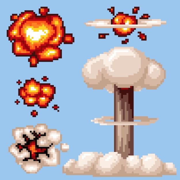 Explosión nuclear de vector pixel art aislado Vector Premium