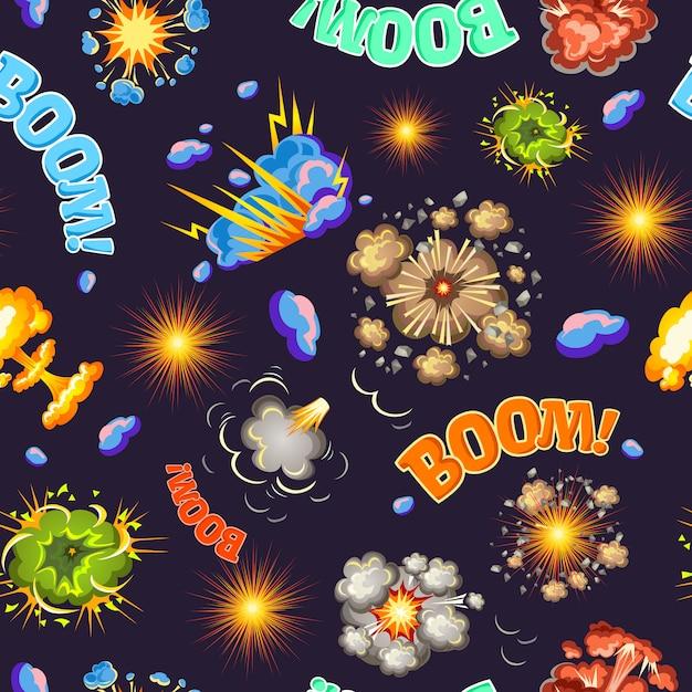 Explosiones de estilo cómico de patrones sin fisuras vector gratuito