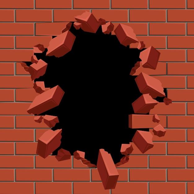 Explotando el agujero en la ilustración de la pared de ladrillo rojo. vector gratuito