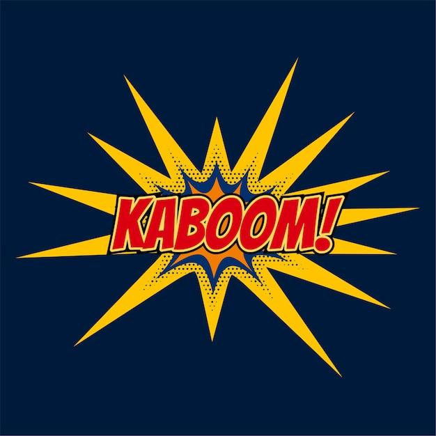 Expresión de burbuja de chat de kaboom en estilo cómic vector gratuito