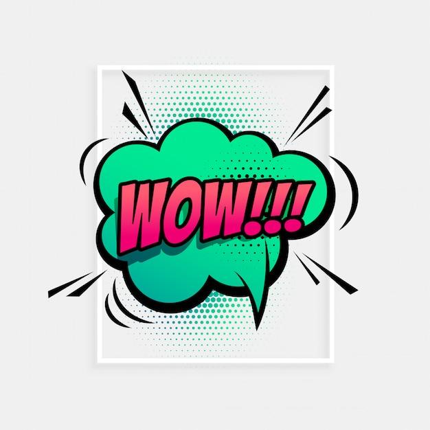 Expresión cómica del habla para el término wow. vector gratuito
