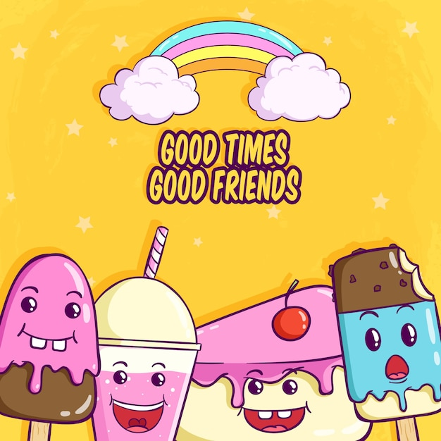 Expresión de comida divertida con rebanada de pastel de helado y refresco Vector Premium