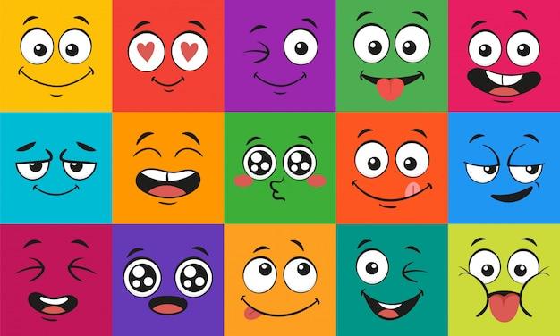 Expresiones faciales de dibujos animados. caras sorprendidas felices, personajes de doodle conjunto de ilustración de boca y ojos Vector Premium