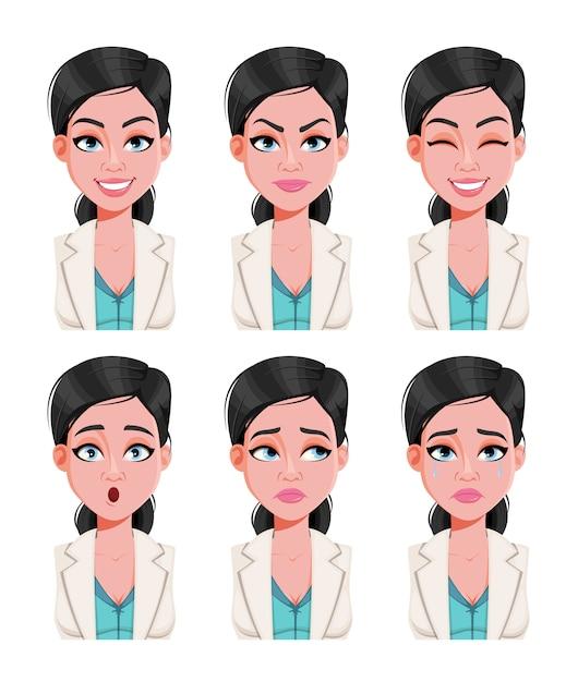 Expresiones faciales de hermosa mujer médico Vector Premium