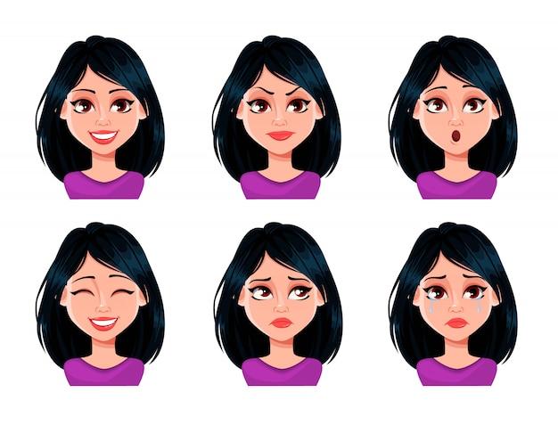 Expresiones faciales de mujer con cabello oscuro Vector Premium