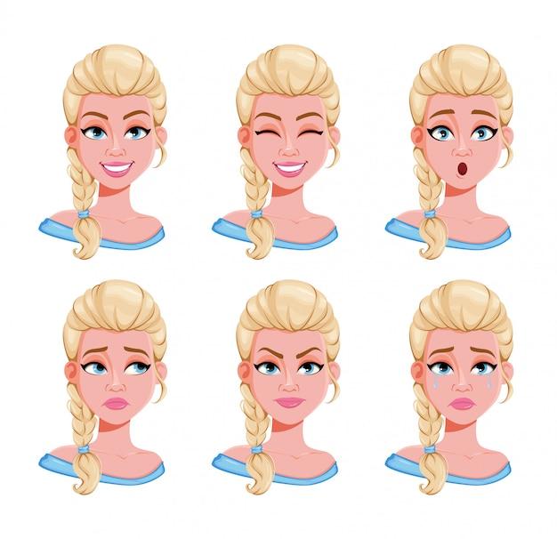 Expresiones faciales de mujer rubia, set Vector Premium
