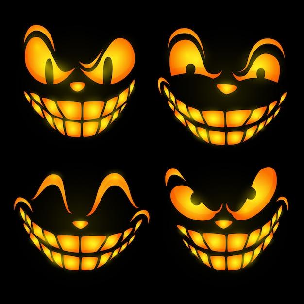 Expresiones faciales ominosas vector gratuito