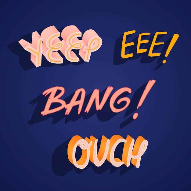 Expresiones de letras de estilo retro maravilla vector gratuito