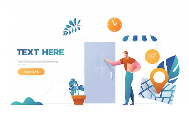 Express courier special delivery boy man messenger concepto de caja de cartón llamando a la puerta del cliente fondo de pared diseño de dibujos animados ilustración Vector Premium